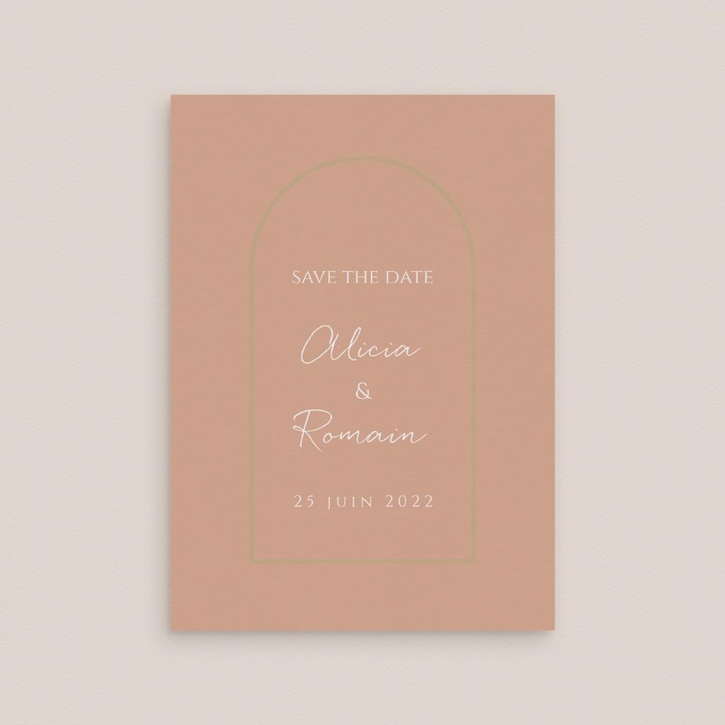 Save-the-date mariage Arche de roses caramel, Jour J gratuit