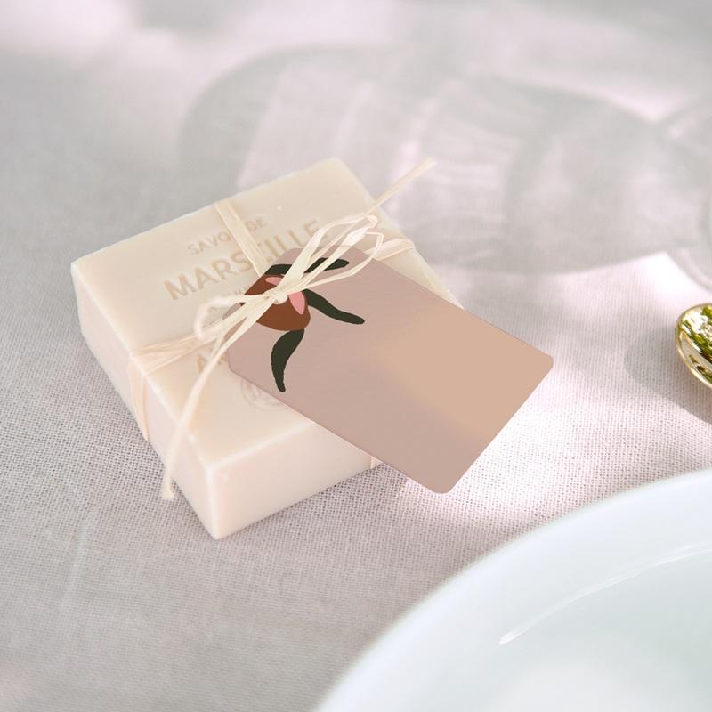 Marque-place mariage Citrons terracotta, rectangulaire, 6 x 4 cm