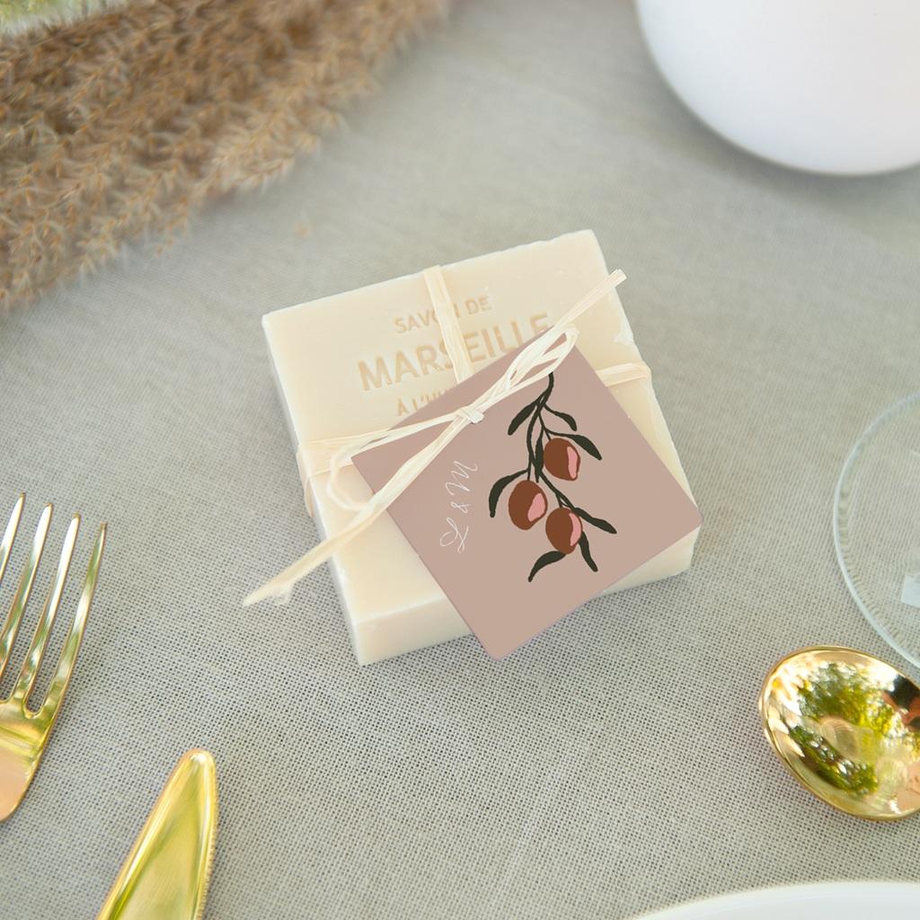 Etiquettes cadeaux mariage Citrons terracotta, Carrée, 4,5 x 4,5 cm