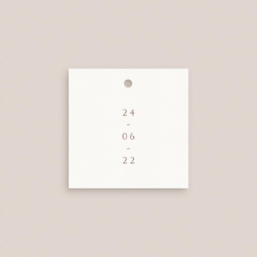 Etiquettes cadeaux mariage Citrons terracotta, Carrée, 4,5 x 4,5 cm pas cher