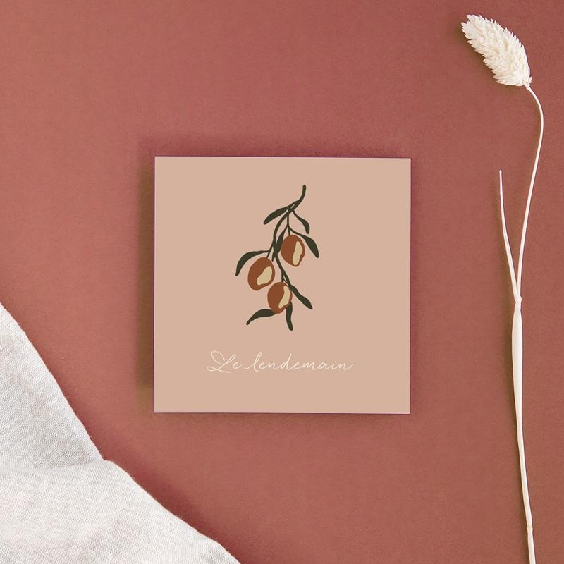 Carte d'invitation mariage Citrons Terracotta, 10 x 10