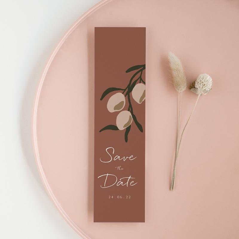 Save-the-date mariage Citrons Terracotta, Jour J, 5,5 X 21 cm