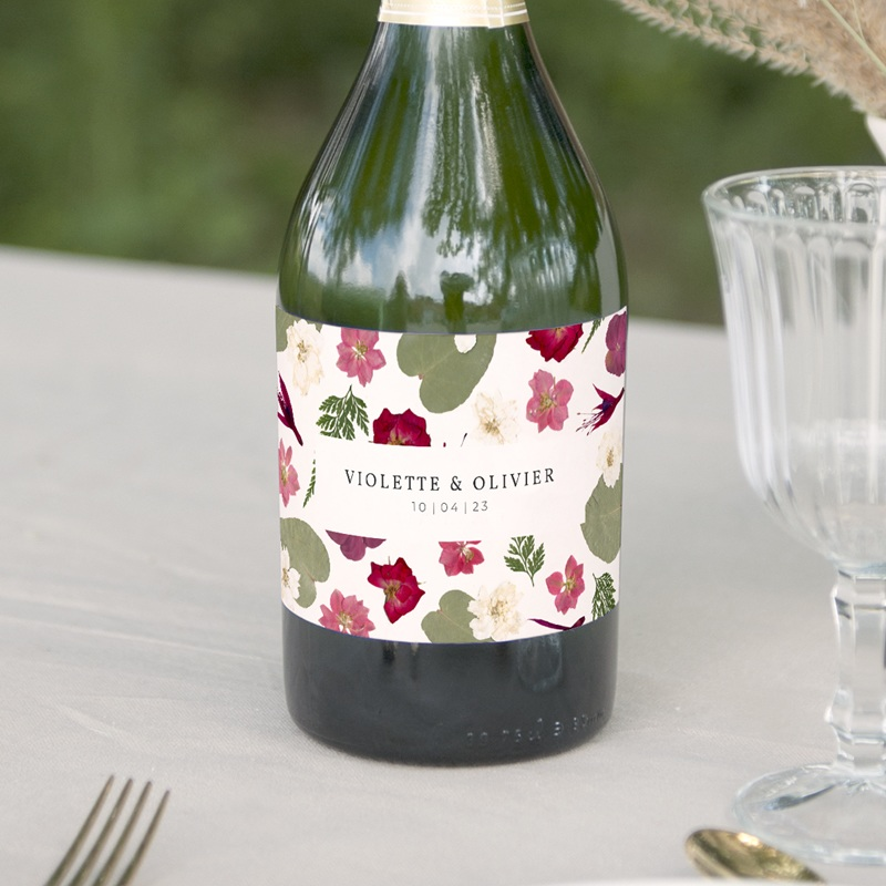 Etiquette bouteille mariage Romance Florale, champagne