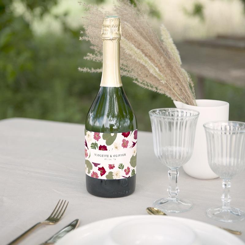 Etiquette bouteille mariage Romance Florale, champagne gratuit