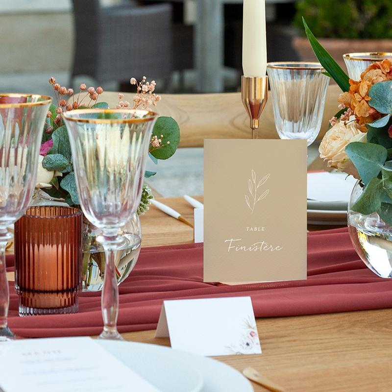 Marque table mariage Brin romantique, Beige doré, Lot de 3 pas cher