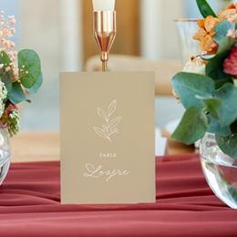 Marque table mariage Brin romantique, Beige doré, Lot de 3 gratuit