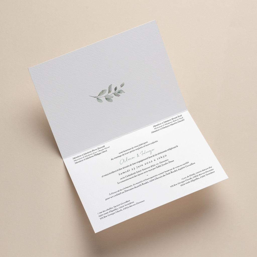 Faire-part de mariage Pastel de Fleurs & Feuillage, 17 x 12, 2 cm pas cher