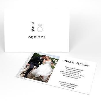 Carte de remerciement mariage Wedding mr et mme