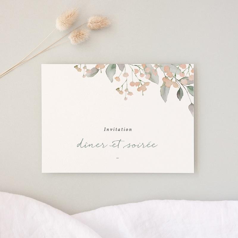 Carte d'invitation mariage Pastel de Fleurs & Feuillage