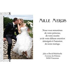Carte de remerciement mariage Wedding mr et mme gratuit