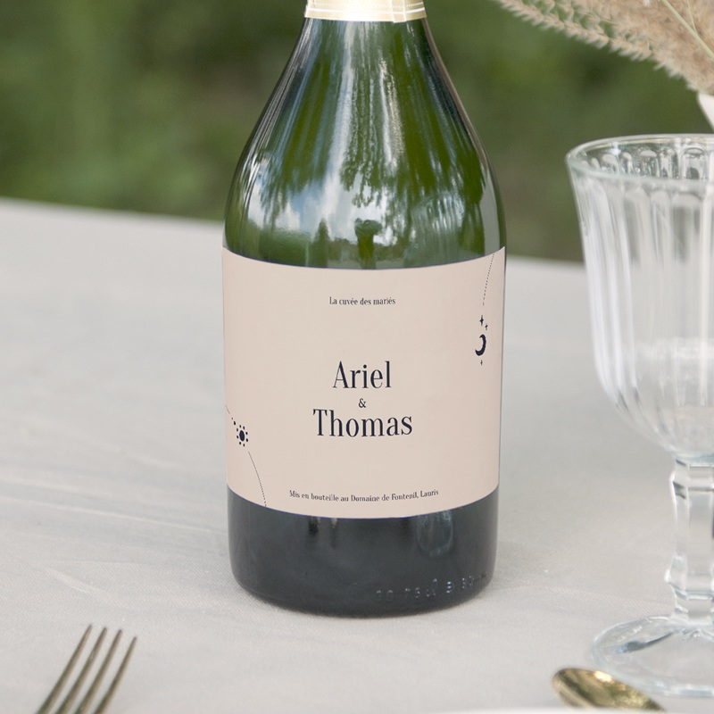 Etiquette bouteille mariage Arche de Minuit Eau et Champagne