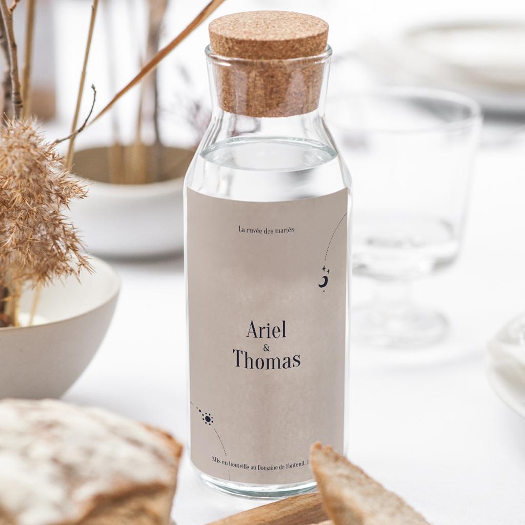 Etiquette bouteille mariage Arche de Minuit Eau et Vin gratuit