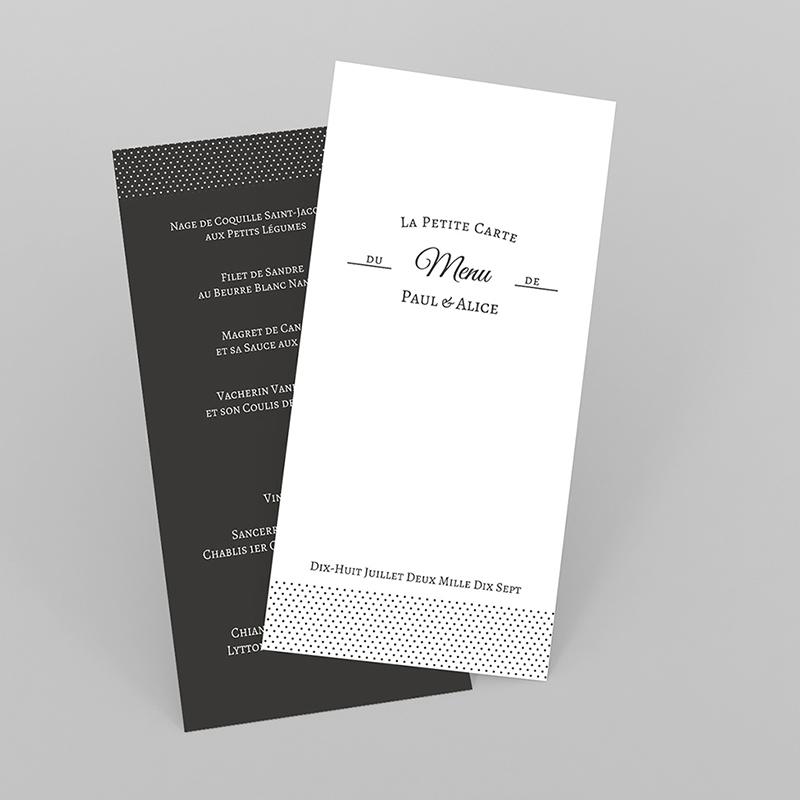 Menu mariage Letter Press blanc