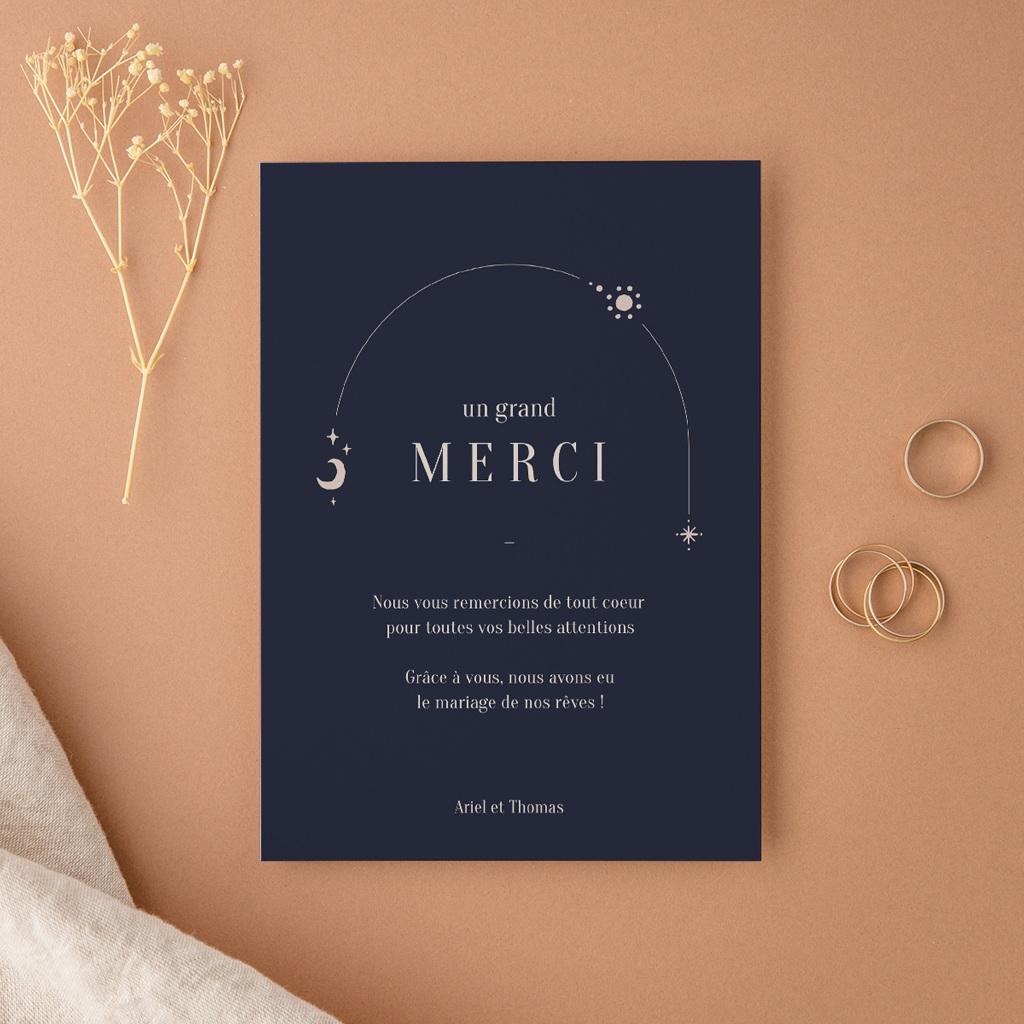 Carte de remerciement mariage Arche de Minuit 1 Photo