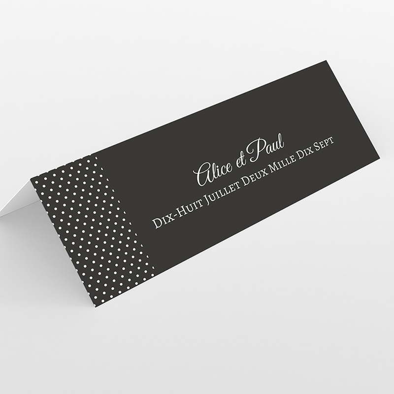 Marque-place mariage Letter Press blanc