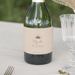 Etiquette bouteille mariage Soleil de Minuit, 13 x 8 cm