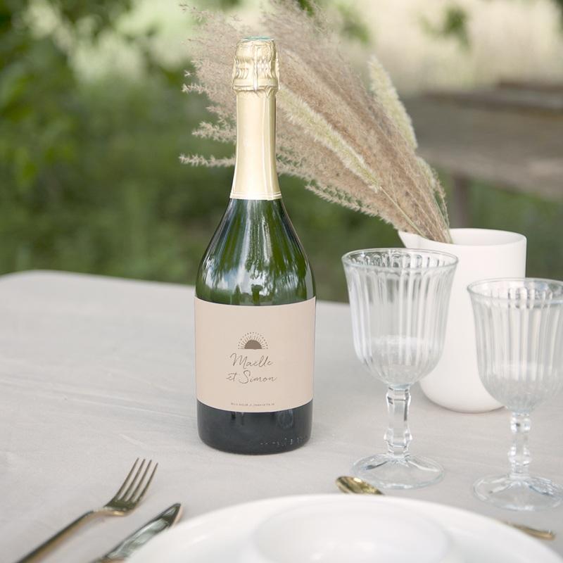 Etiquette bouteille mariage Soleil de Minuit, 13 x 8 cm gratuit