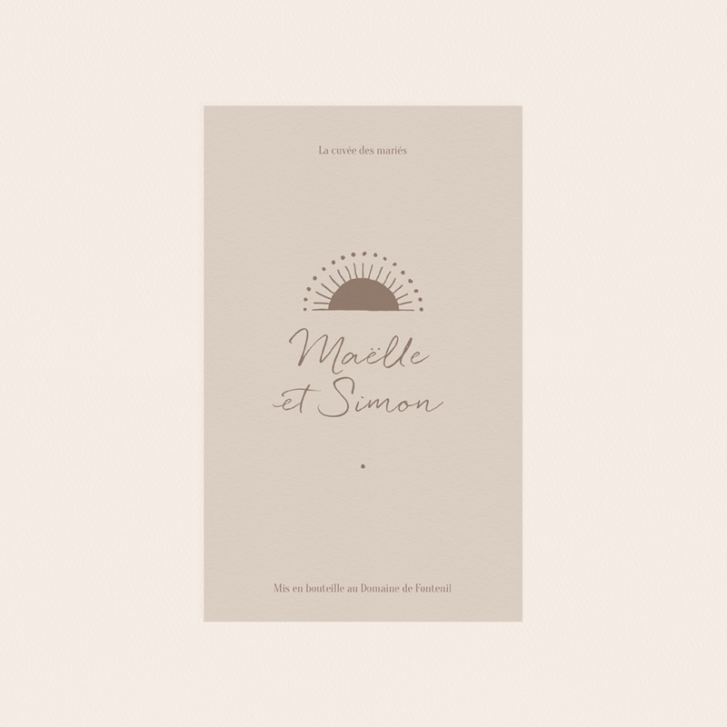 Etiquette bouteille mariage Soleil de Minuit, 8 x 13 cm pas cher