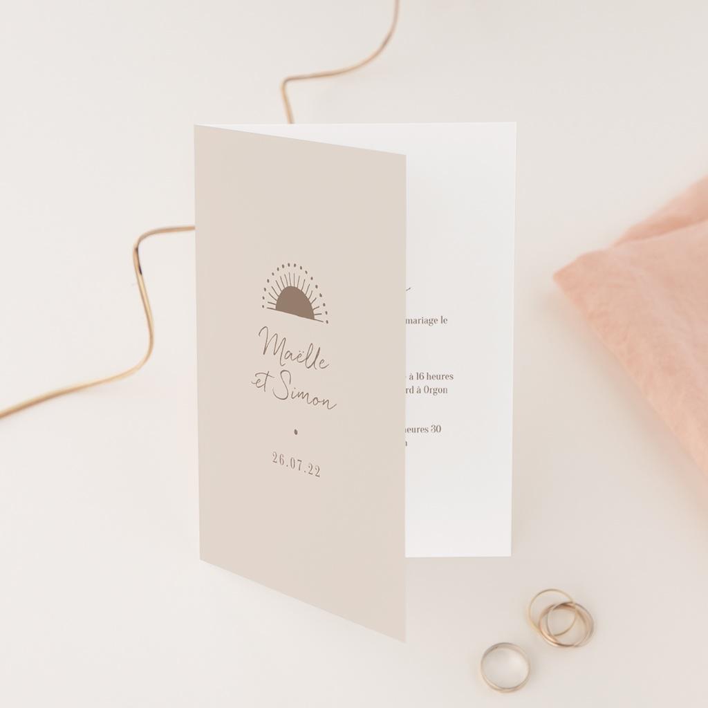 Faire-part de mariage Soleil de minuit, Double volet 12 x 17 cm