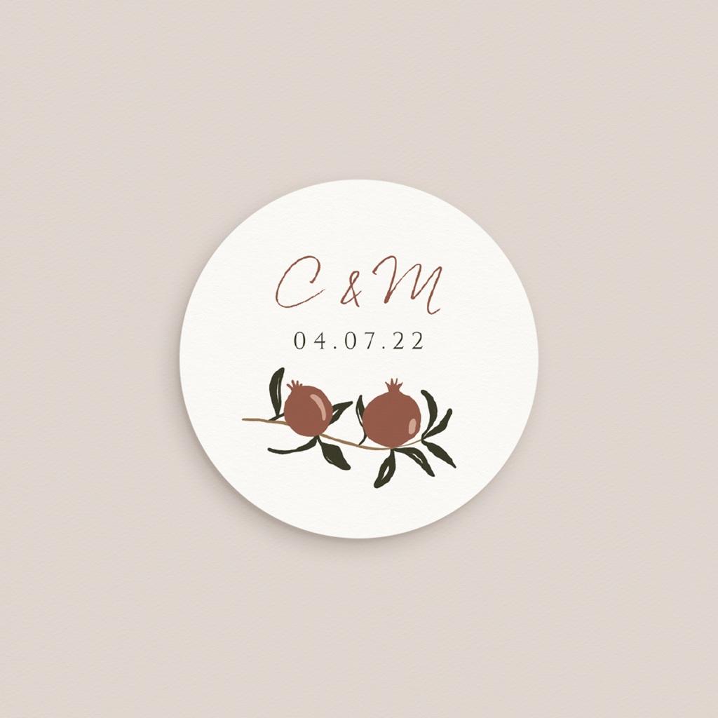 Etiquette enveloppes mariage Grenades Terracotta, sticker 4,5 cm pas cher