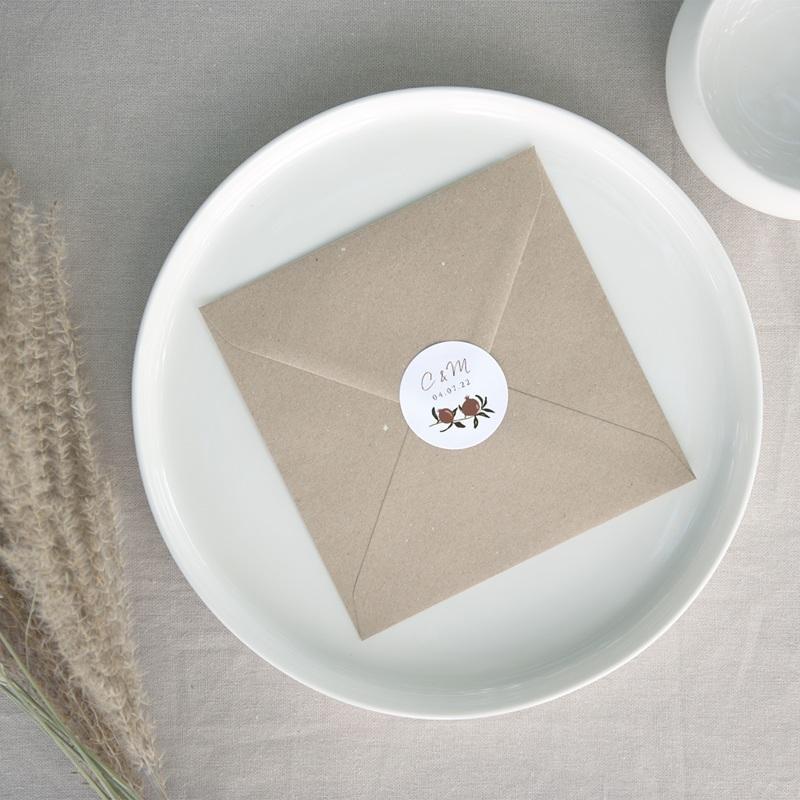 Etiquette enveloppes mariage Grenades Terracotta, sticker 4,5 cm