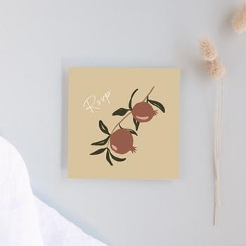 Carton réponse mariage Grenades Terracotta, Rsvp 10 x 10 cm