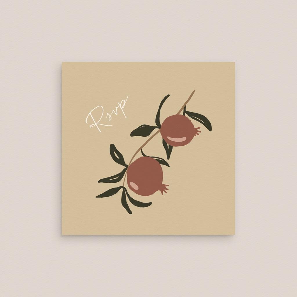 Carton réponse mariage Grenades Terracotta, Rsvp 10 x 10 cm gratuit