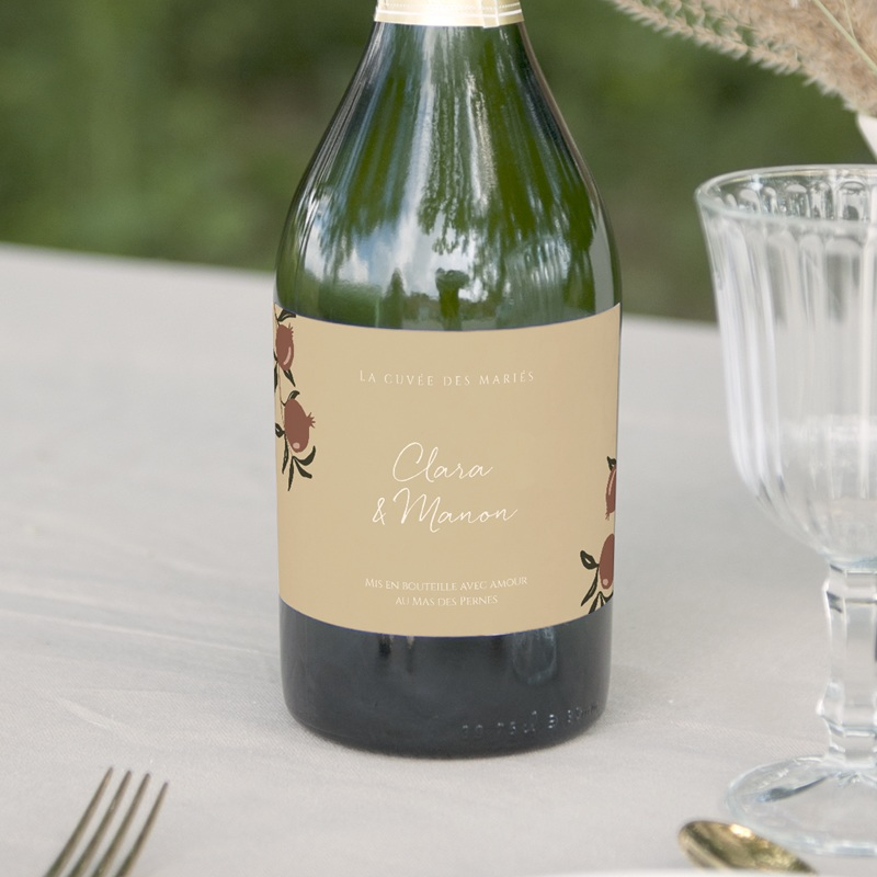 Etiquette bouteille mariage Grenades Terracotta, 13 x 8 cm