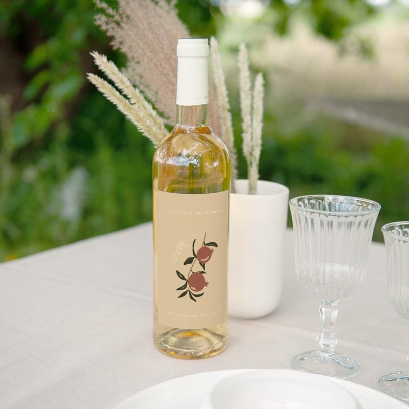 Etiquette bouteille mariage Grenades Terracotta, Vin 8 x 13 cm