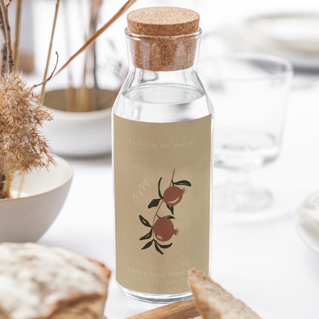 Etiquette bouteille mariage Grenades Terracotta, Vin 8 x 13 cm gratuit