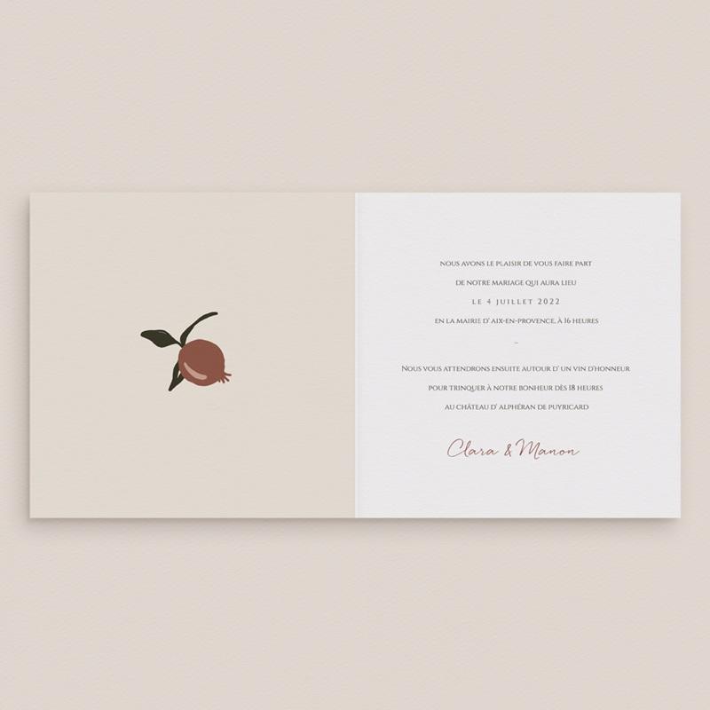 Faire-part de mariage Grenades Terracotta, 14 x 14 cm pas cher