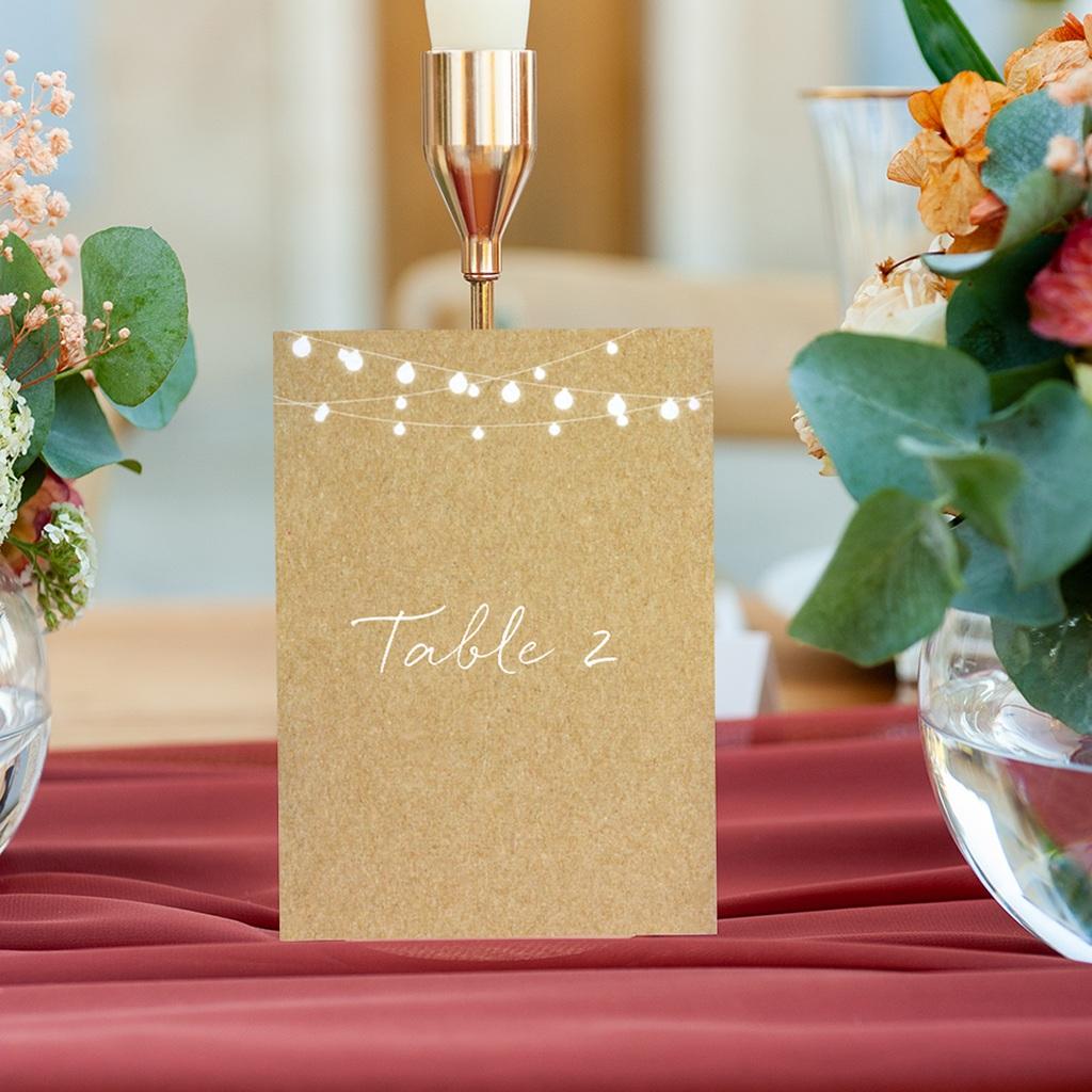 Marque table mariage Perfect Day Kraft, Lot de 3 gratuit