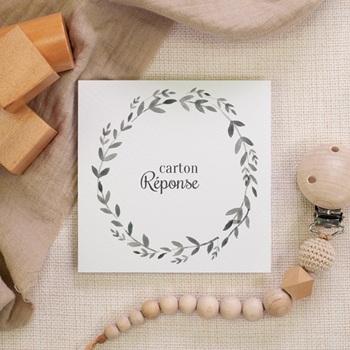 Carton réponse mariage Couronne Olivier Naturel, Rsvp
