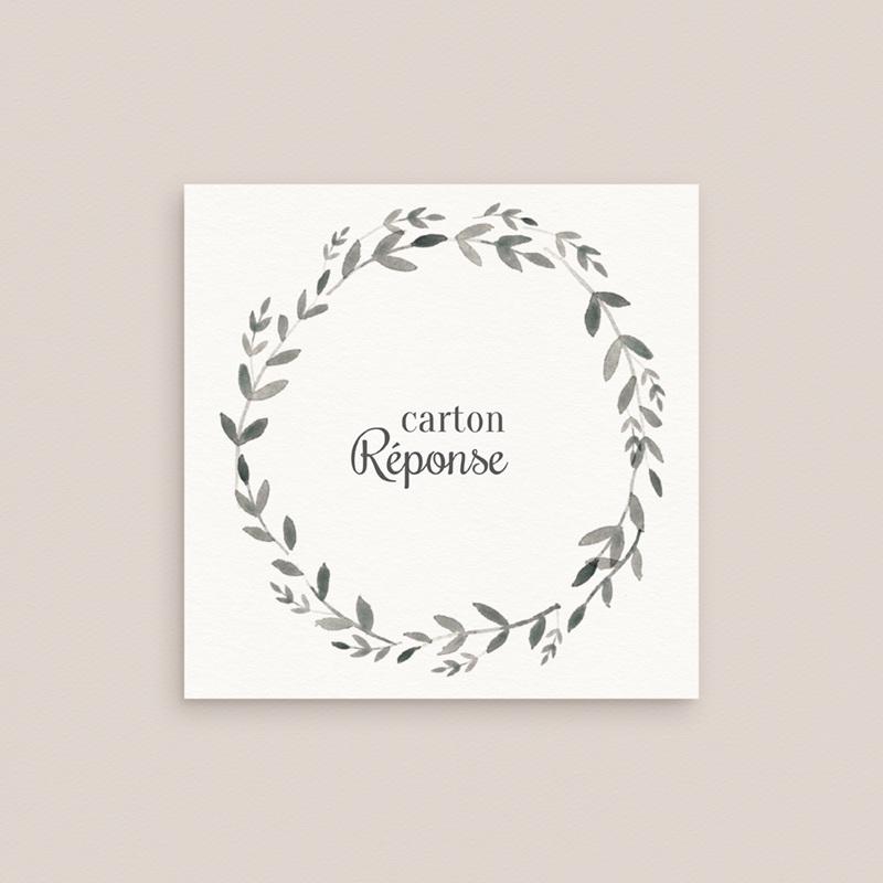Carton réponse mariage Couronne Olivier Naturel, Rsvp gratuit
