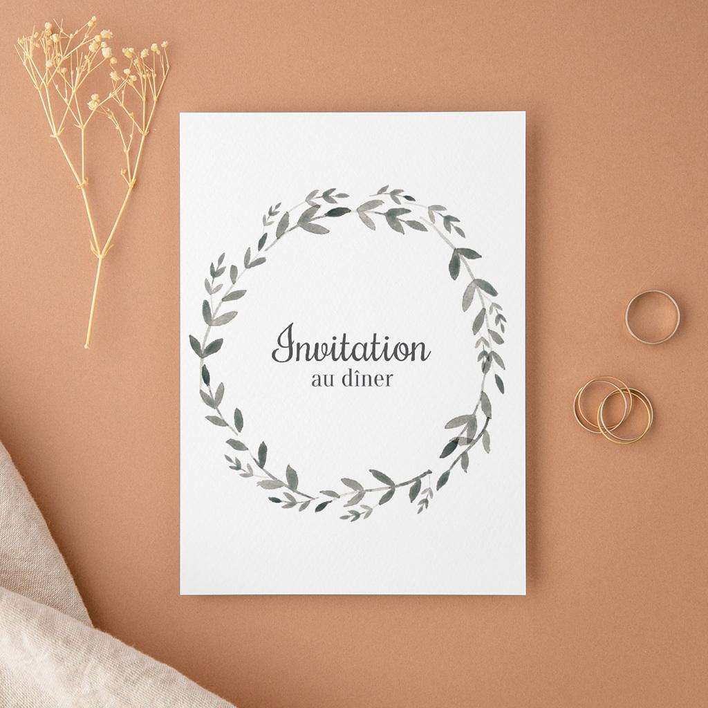 Carte d'invitation mariage Couronne Olivier Naturel, Dîner