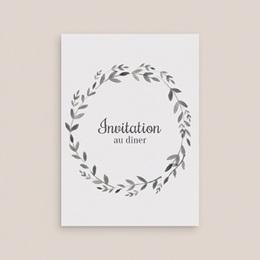Carte d'invitation mariage Couronne Olivier Naturel, Dîner gratuit