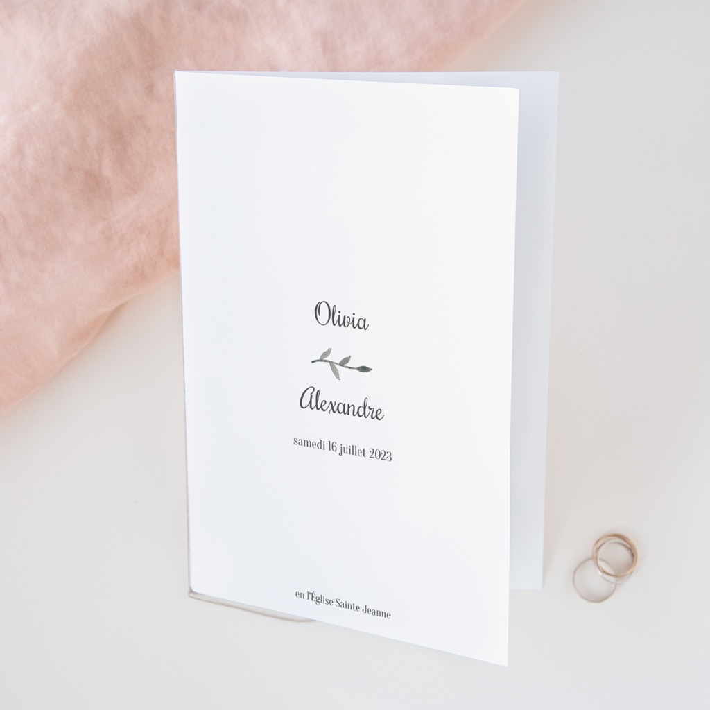 Livret de messe mariage Couronne Olivier Naturel, couverture