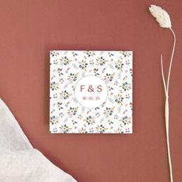 Carton réponse mariage Liberty Rouge, Rsvp, 10x10 cm