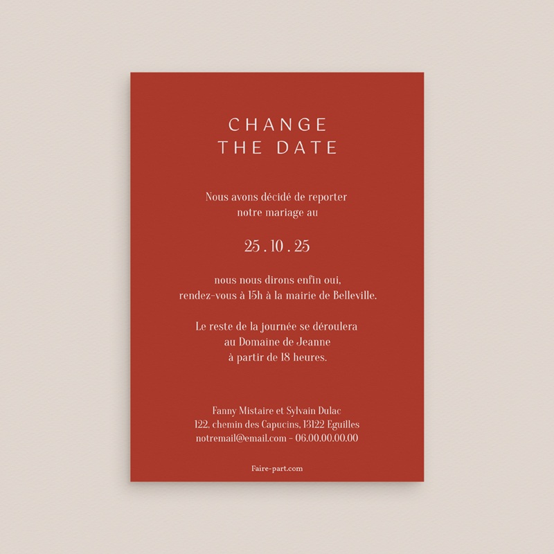 Change the date mariage Liberty Rouge, New date, 10 x 14 cm pas cher