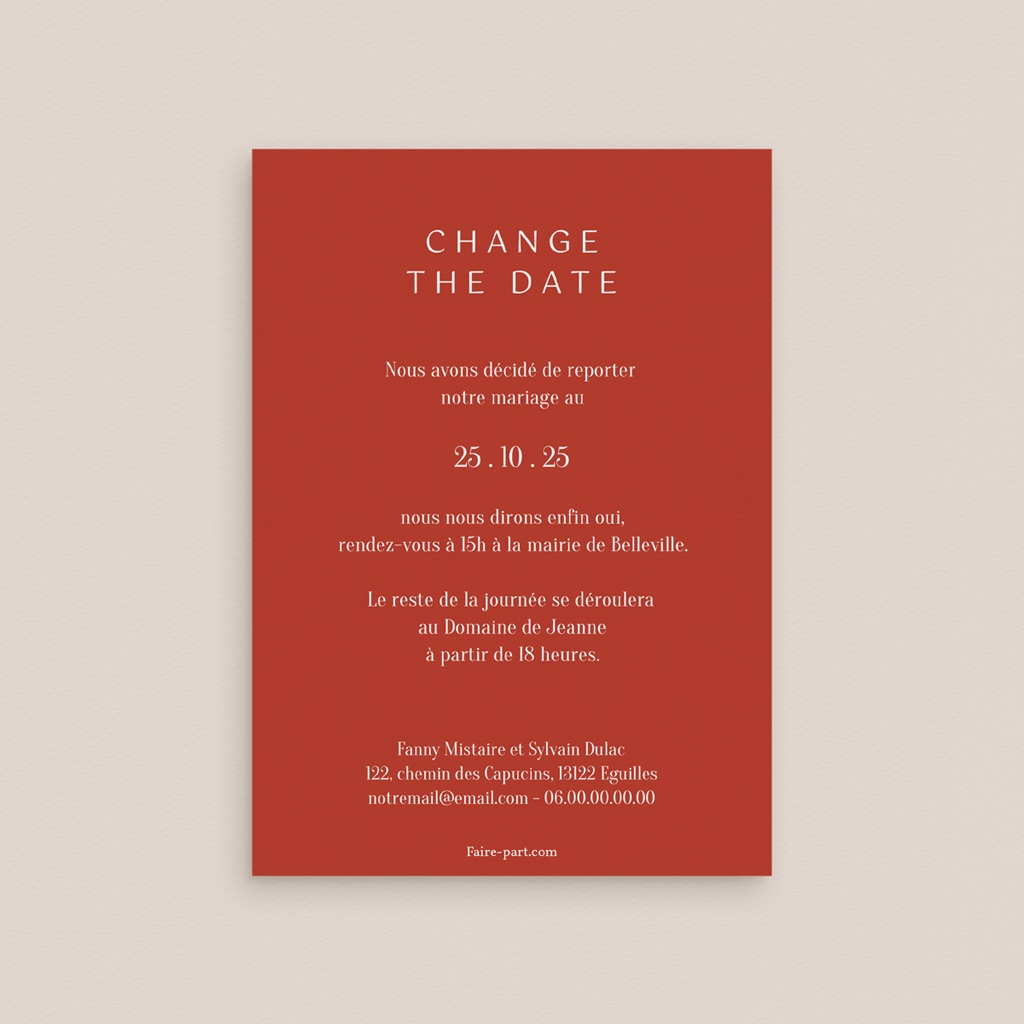 Change the date mariage Liberty Rouge, New date, 10 x 14 cm