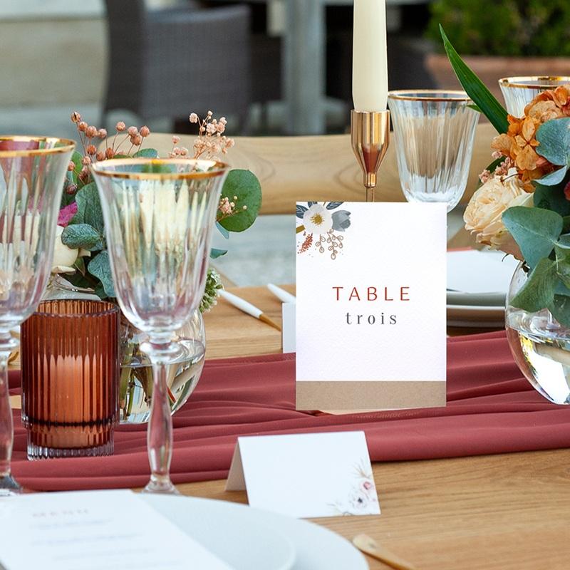 Marque table mariage Liberty Rouge, Lot de 3 repères pas cher