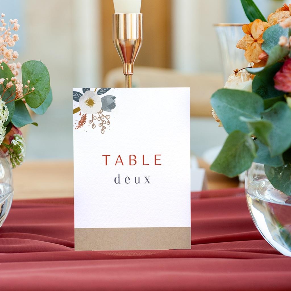 Marque table mariage Liberty Rouge, Lot de 3 repères gratuit