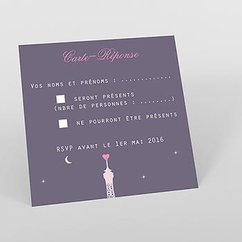 Carton réponse mariage Paris violine
