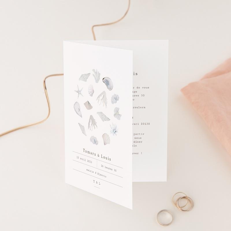 Faire-part de mariage Coquillages & coraux Aquarelle, 12 x 17 cm