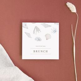 Carte invitation Brunch Coquillages & coraux Aquarelle, Brunch