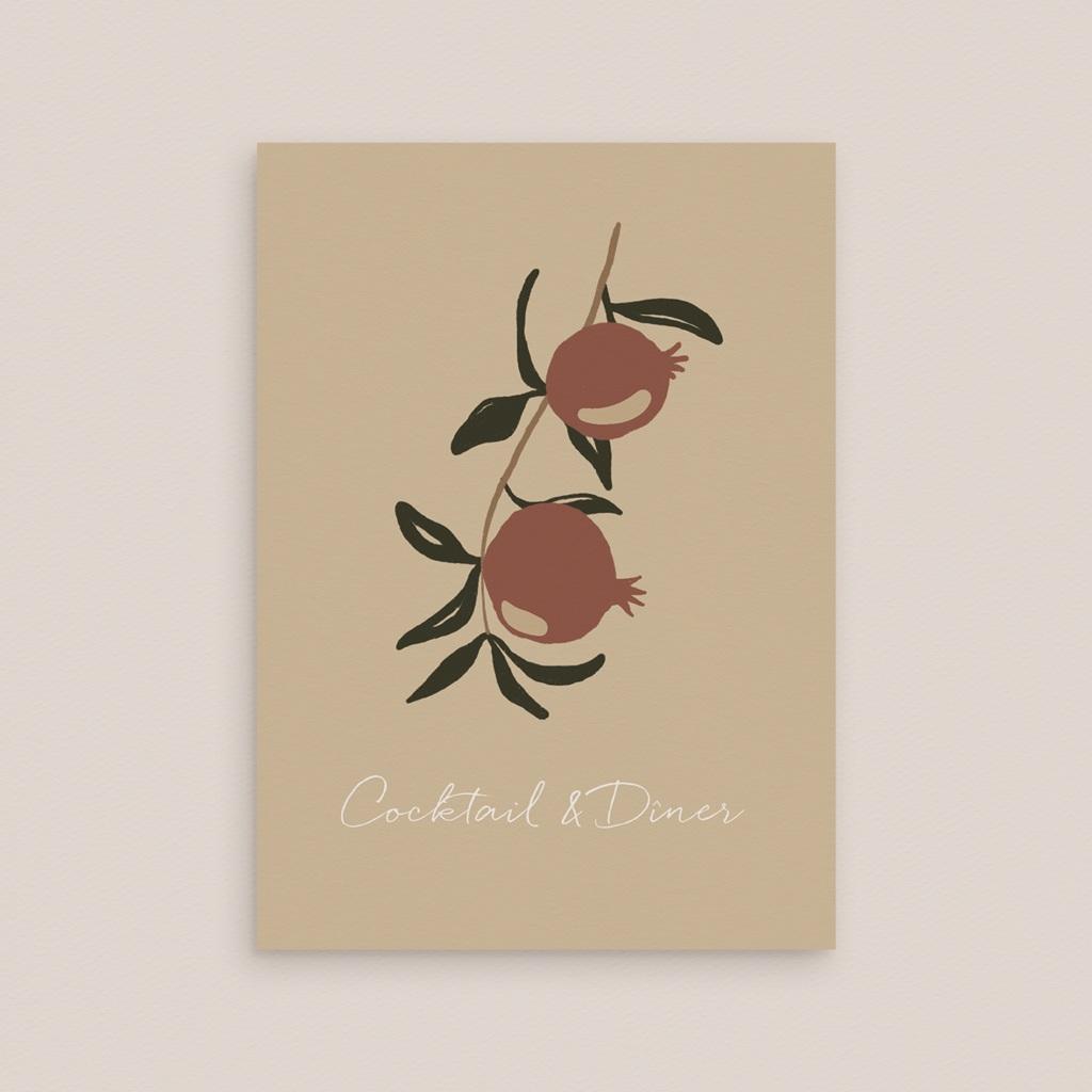 Carte d'invitation mariage Grenades Terracotta, Vin d'honneur, Soirée gratuit