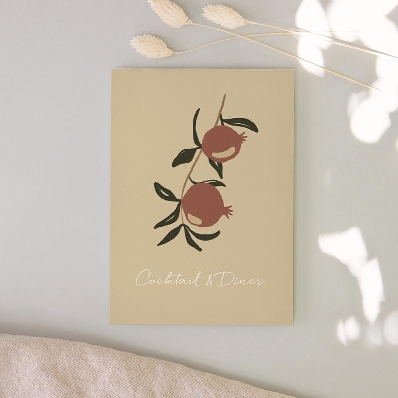 Carte d'invitation mariage Grenades Terracotta, Vin d'honneur, Soirée