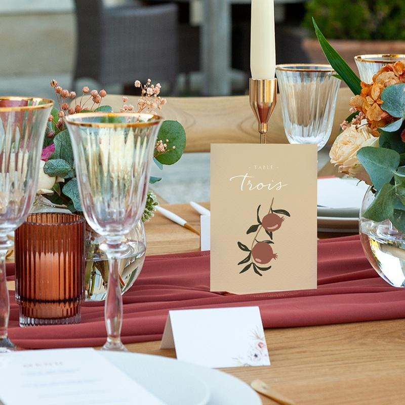 Marque table mariage Grenades Terracotta, Lot de 3, 10 x 14 cm pas cher