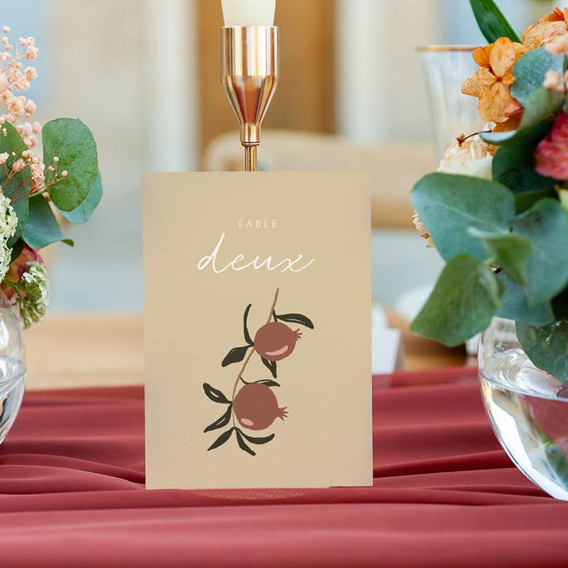 Marque table mariage Grenades Terracotta, Lot de 3, 10 x 14 cm gratuit