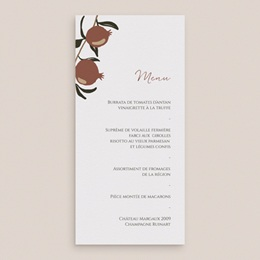 Menu mariage Grenades Terracotta, 10 x 21 cm gratuit